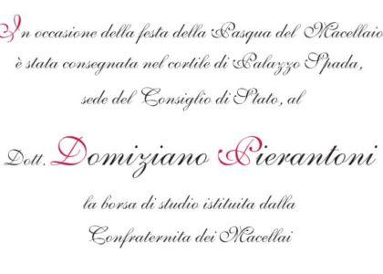 Lettera di ringraziamento del Dott. Domiziano Pierantoni per la borsa di studio istituita dalla Confraternita dei Macellai