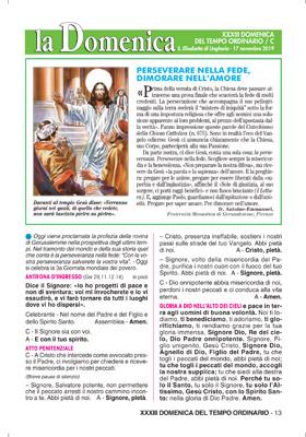 XXXIII DOMENICA DEL TEMPO ORDINARIO / C – Domenica 17 Novembre 2019